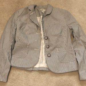 LOFT Navy and White Striped Blazer